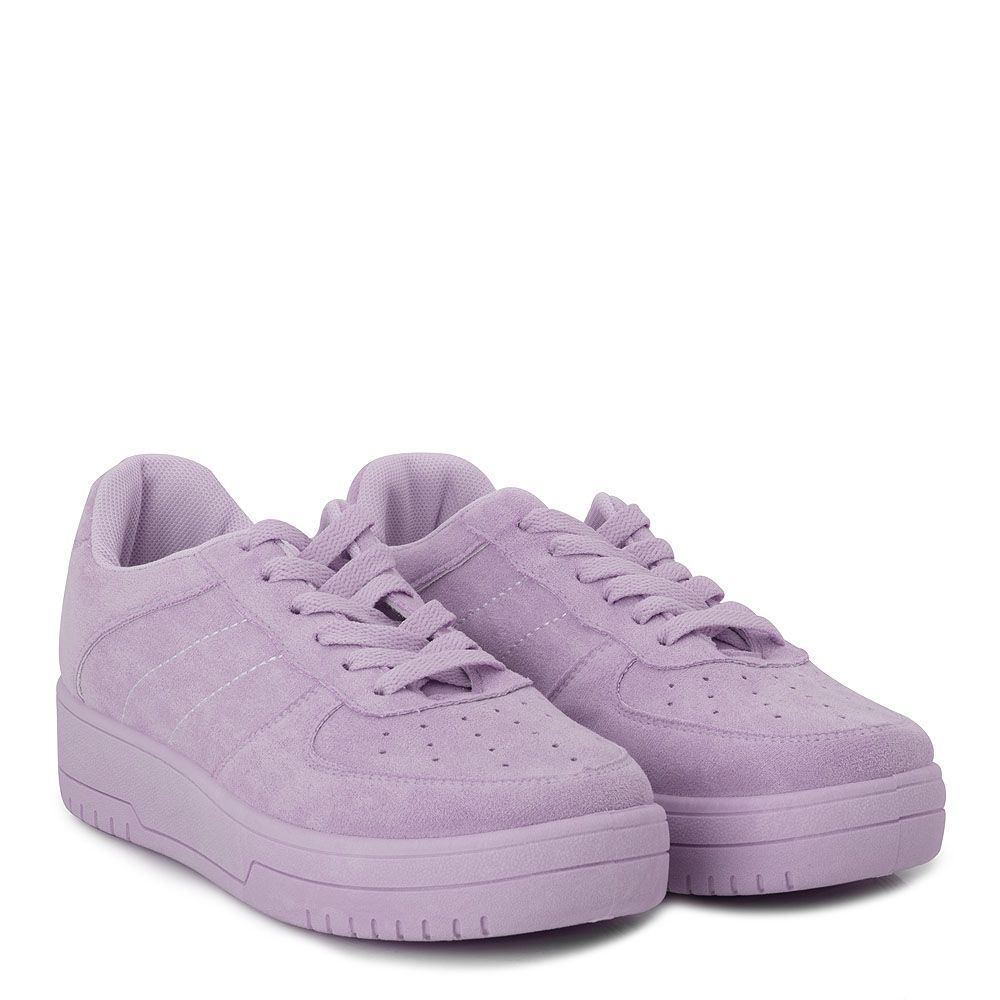 Sneakers suede με κορδόνια